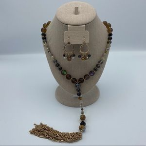 Beaded Lariat Necklace w/Matching Earrings